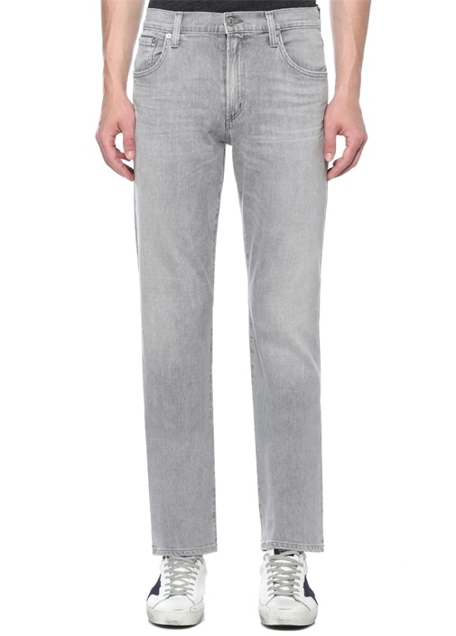 Classic Straight Gage Gri Normal Bel Jean Pantolon