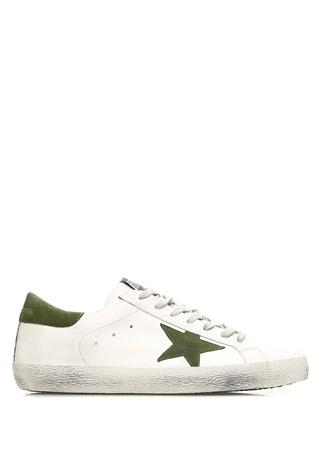 Golden Goose Erkek Superstar Beyaz Yeşil Deri Sneaker 4 EU male 41