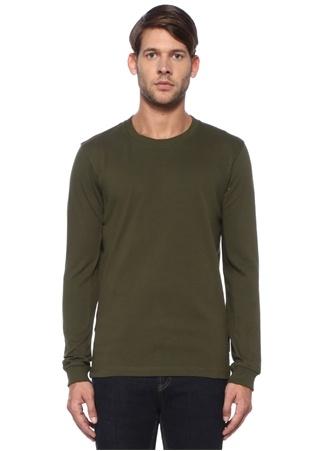 Haki Kuş Gözü Detaylı Sweatshirt