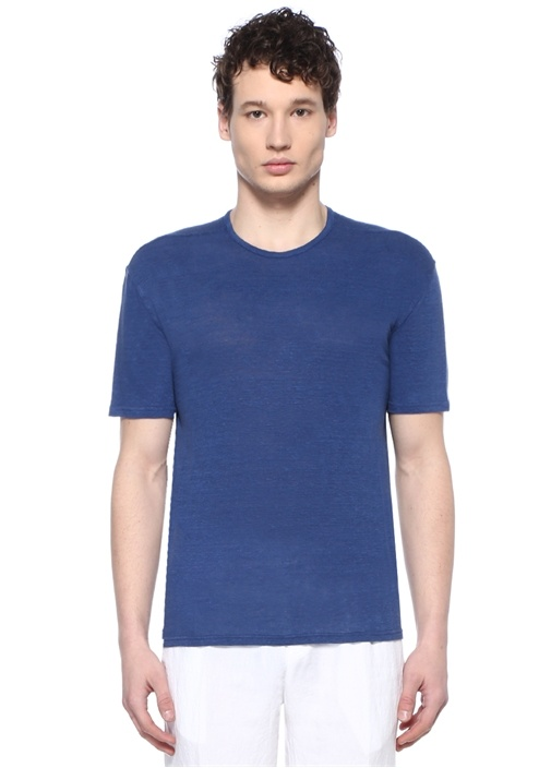 Lacivert Basic Keten T-shirt