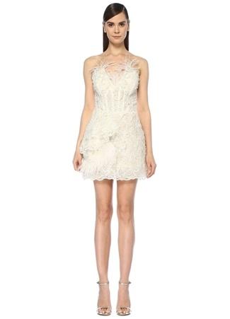 506d93536d08e 36 female Beyaz Nedo by Nedret Taciroğlu Kadın Straplez İşlemeli Tüylü Mini Abiye  Elbise EU
