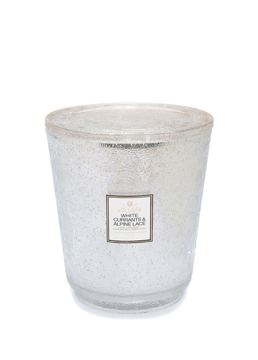 White Currants and Alpine Lace Şeffaf Cam Mum