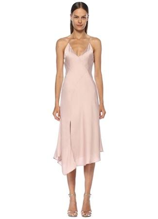 ea8fe340a9ce2 Infinity Pembe V Yaka İnce Askılı Midi Elbise