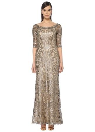 Tadashi Shoji Kadın Gold Kayık Yaka İşlemeli Maksi Tül Abiye Elbise Pembe 4 US