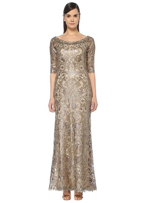 Gold Kayık Yaka İşlemeli Maksi Tül Abiye Elbise