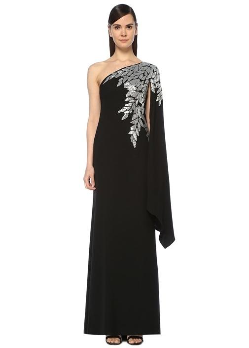 Columba Siyah Silver Tek Kol İşlemeli Maksi Elbise