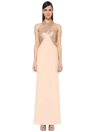 Tadashi Shoji Kadın Altın Rengi Halter Yaka İşlemeli Maksi Abiye Elbise 2 US