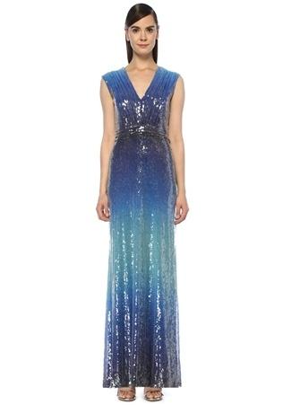 a7705679c65d1 Mavi Degrade V Yaka İşlemeli Maksi Abiye Elbise