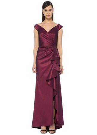 Tadashi Shoji Kadın Bordo V Yaka Drapeli Maksi Abiye Elbise 2 US female 12