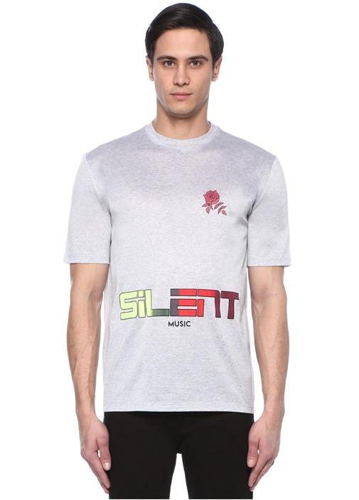 Gri Melanj Bisiklet Yaka Baskılı Basic T-shirt
