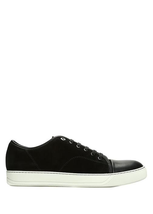 Siyah Garni Detaylı Erkek Deri Sneaker