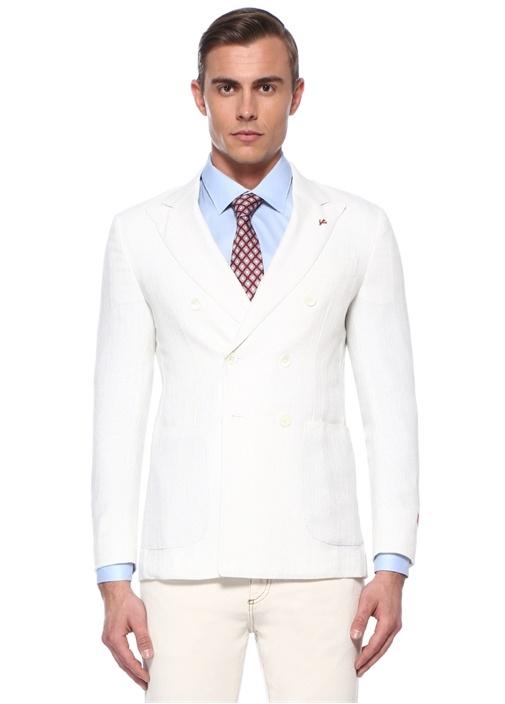 Drop 8 Beyaz Kırlangıç Yaka Dokulu Yün Ceket