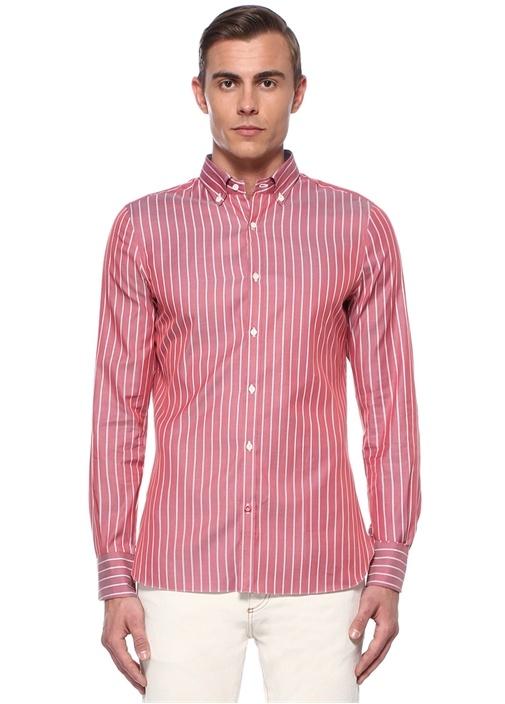 Kırmızı Beyaz Çizgili Düğmeli Yaka Gömlek