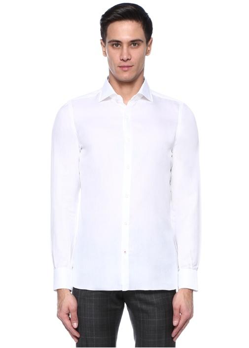 Beyaz Polo Yaka Dokulu Gömlek