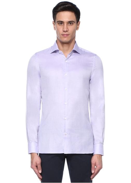Lila İngiliz Yaka Gömlek