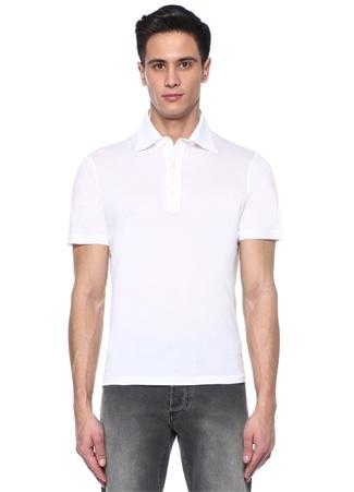 Beyaz Polo Yaka Basic T-shirt