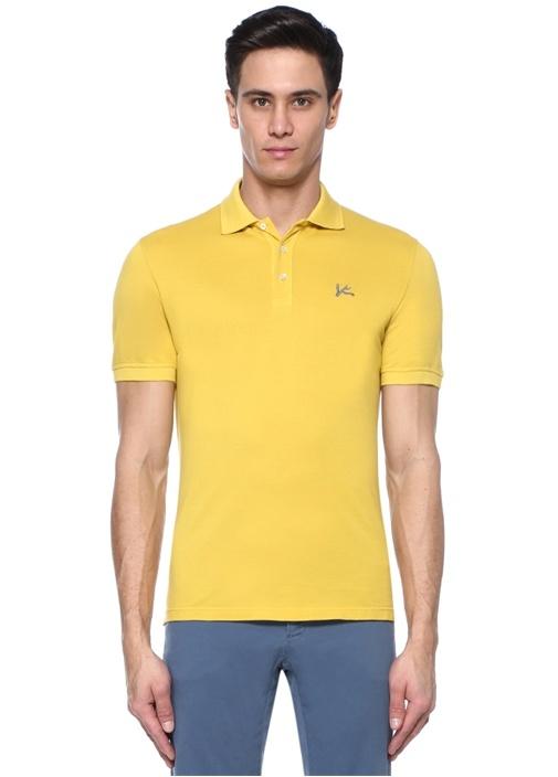 Sarı Logo Nakışlı Polo Yaka T-shirt