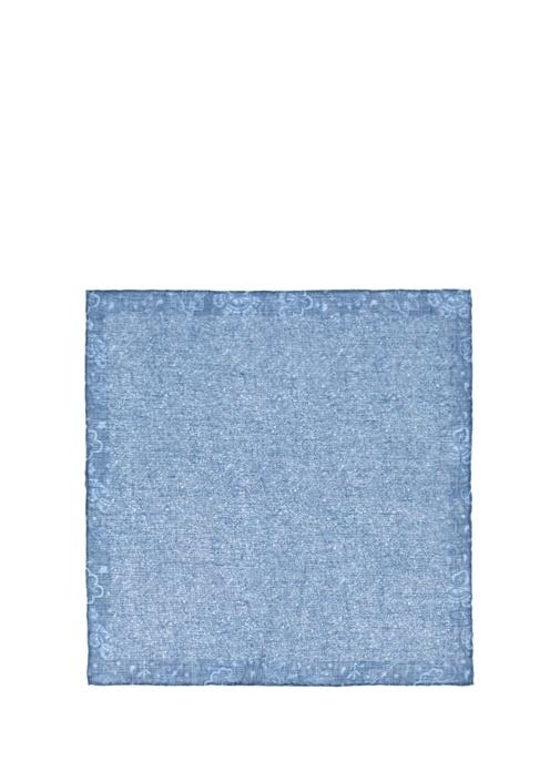 Mavi Çiçek Desenli Poşet Mendil