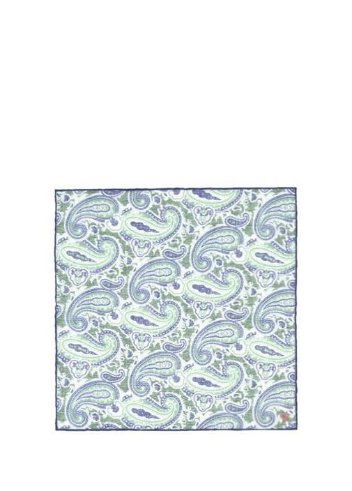 Yeşil Mavi Şal Desenli Poşet Mendil