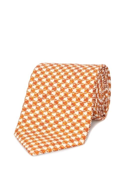 Turuncu Kazayağı Desenli İpek Kravat