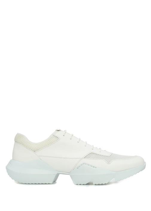 Beyaz File Dokulu Erkek Sneaker
