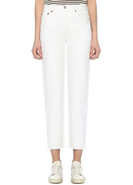 Stove Pipe Beyaz Yüksek Bel Boru Paça Jean
