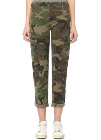ReDone Re/Done Kadın Haki Yüksek Bel Kamuflajlı Dar Paça Kargo Pantolon Yeşil 26 US