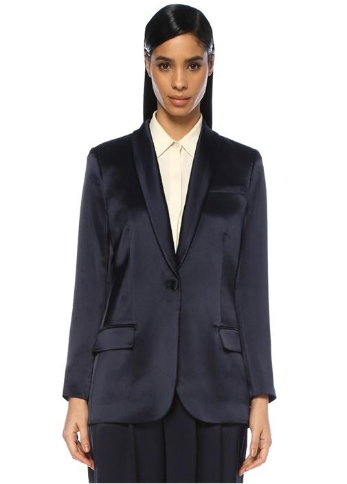 Lacivert Şal Yaka Tek Düğmeli Saten Blazer Ceket