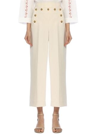 Krem Yüksek Bel Düğme Detaylı Crop Pantolon