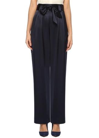 Lacivert Yüksek Bel Kuşaklı Bol Saten Pantolon