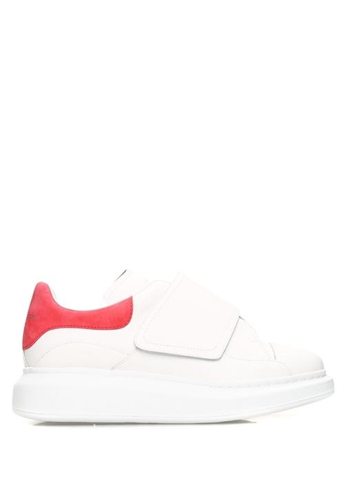 Oversized Beyaz Pembe Kadın Deri Sneaker