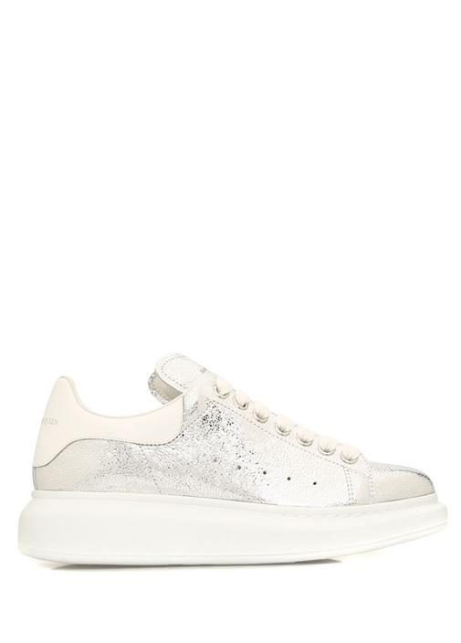Oversize Metalik Silver Kadın Deri Sneaker