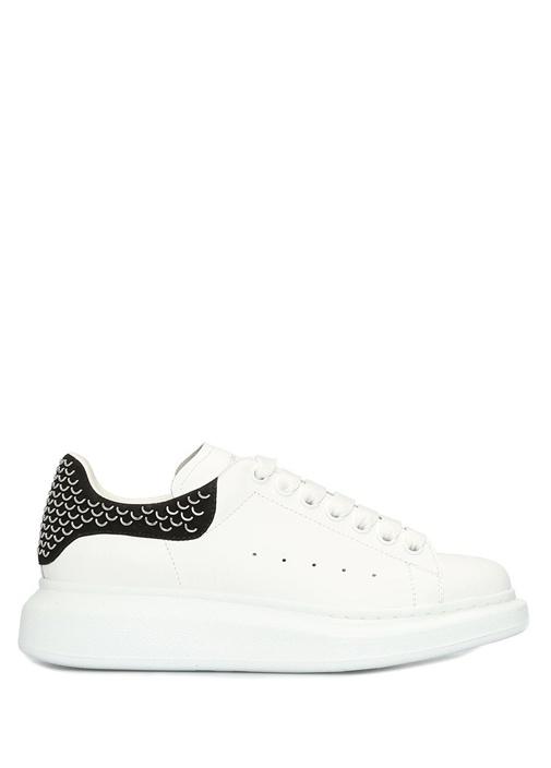 Oversize Beyaz Siyah Troklu Kadın Deri Sneaker