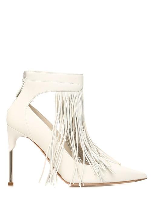 Ekru Silver Püsküllü Deri Topuklu Ayakkabı