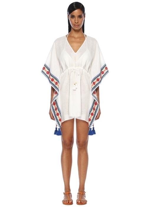 Beyaz V Yaka Nakışlı Mini Keten Plaj Elbisesi