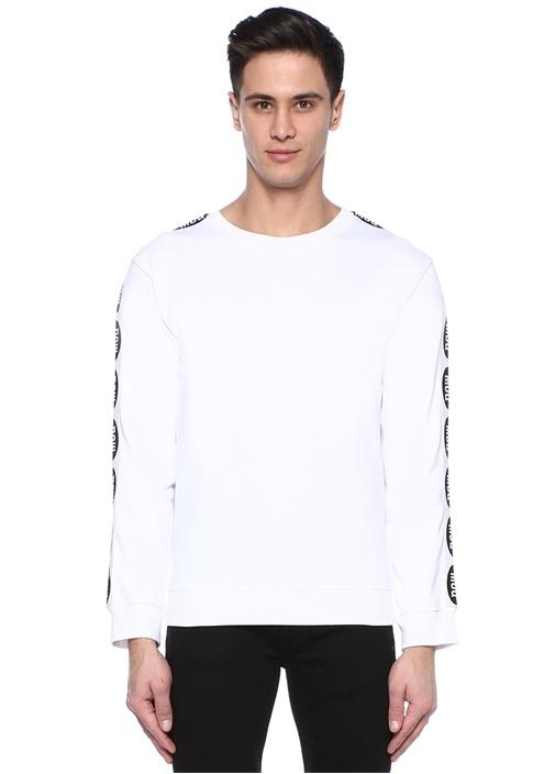 Beyaz Bisiklet Yaka Şerit Logolu Sweatshirt