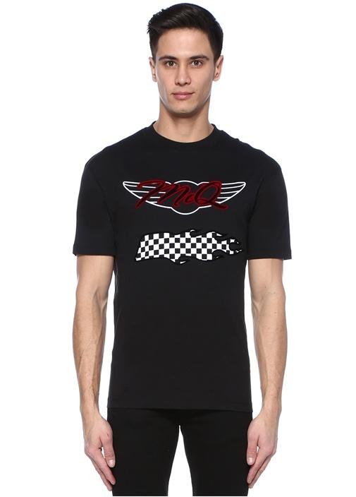 Siyah Bisiklet Yaka Logo Baskılı Basic T-shirt
