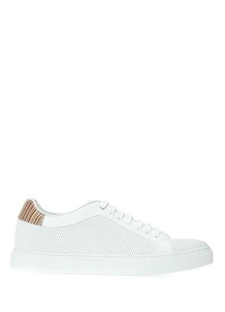 Paul Smith Erkek Beyaz Desenli Deri Sneaker 7 UK male