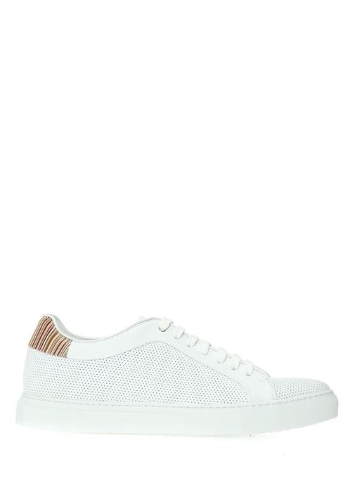 Beyaz Desenli Erkek Deri Sneaker