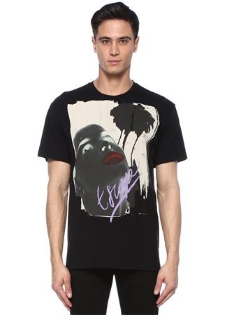 Erkek Siyah Baskılı Bisiklet Yaka Basic T-shirt Turuncu M EU