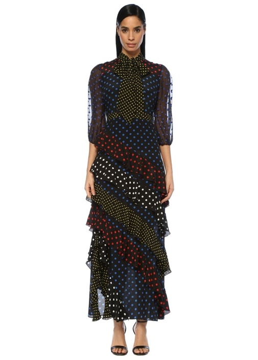 Lessie Siyah Puantiyeli Volanlı Maksi İpek Elbise