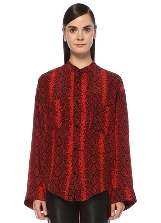 The Kooples Kadın Kırmızı Yılan Derisi Desenli Bol İpek Gömlek US
