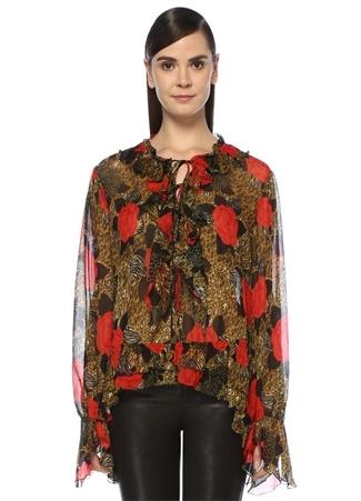 The Kooples Kadın Leopar Çiçek Desenli Fırfırlı Bluz Kırmızı 2 US