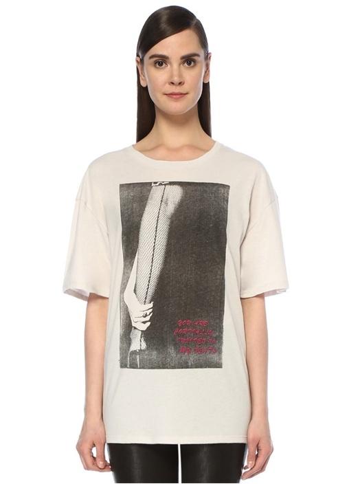 Ekru Fotoğraf Baskılı Oversize T-shirt