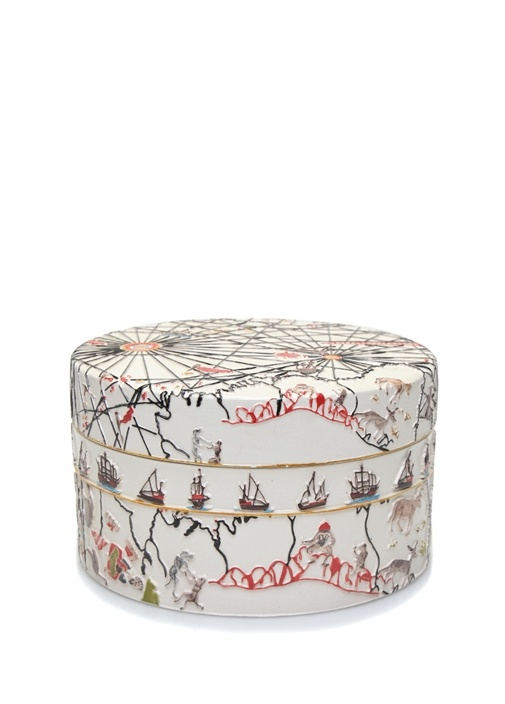 Piri Reis Kapaklı 25 cm El Yapımı Dekoratif Kutu