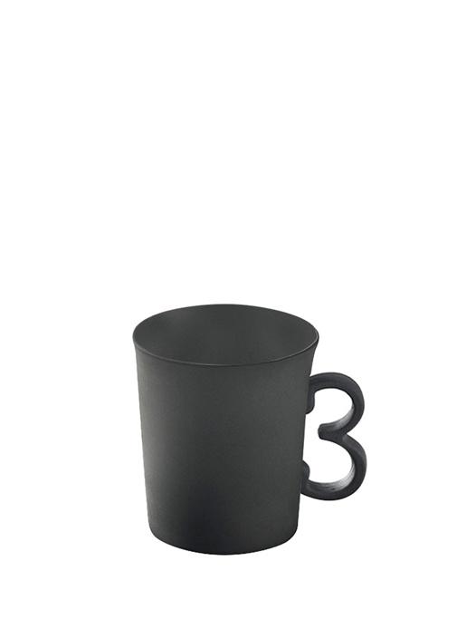 Siyah 3 Figürlü El Yapımı Porselen Kahve Fincanı