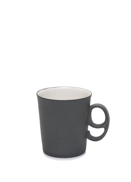 Siyah 9 Figürlü El Yapımı Porselen Kahve Fincanı