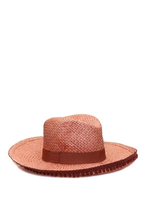 Pembe Kemerli Püsküllü Kadın Hasır Şapka