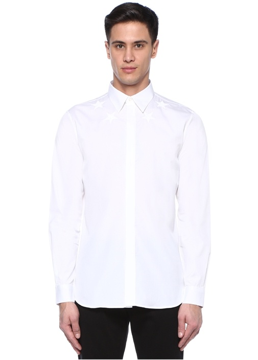 Beyaz İngiliz Yaka Yıldız Nakışlı Gömlek