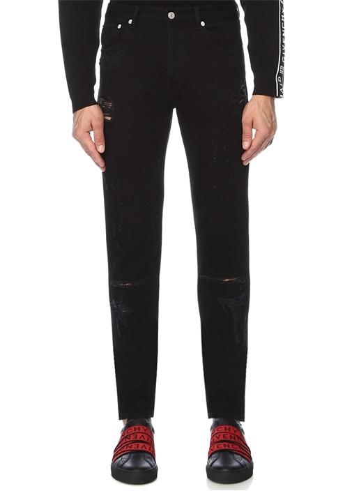 Siyah Normal Bel Yıpratma Detaylı Jean Pantolon